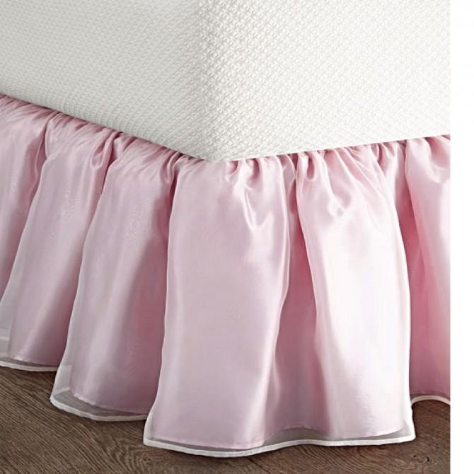 Pink Sheer Overlay Wrap-Around Ruffle Bed Skirt