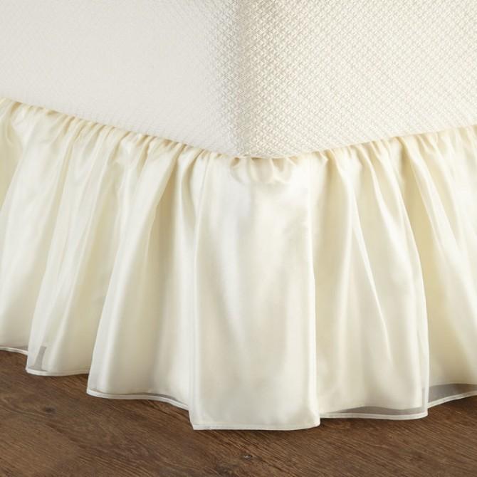 Light Yellow Sheer Overlay Wrap-Around Ruffle Bed Skirt