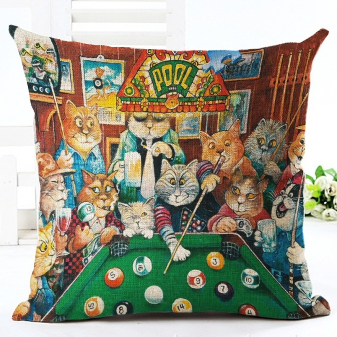 Pool Cats Cushion Cover