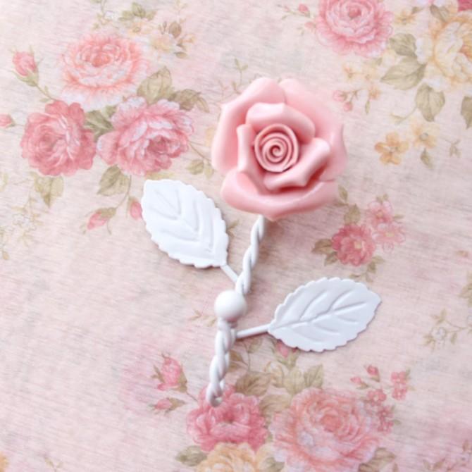 Pink Porcelain Rose Iron Hanger