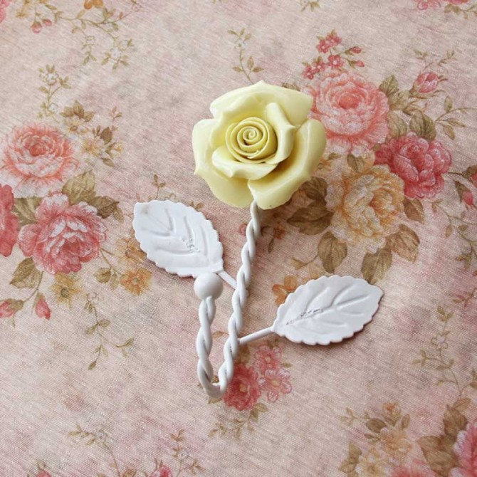 Yellow Porcelain Rose Iron Hanger