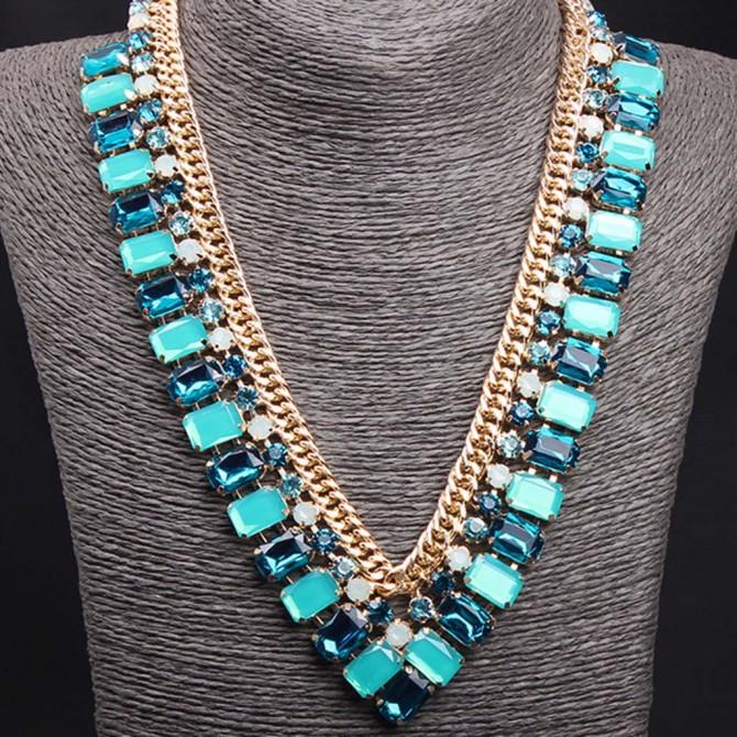 Blue V Shape Necklace