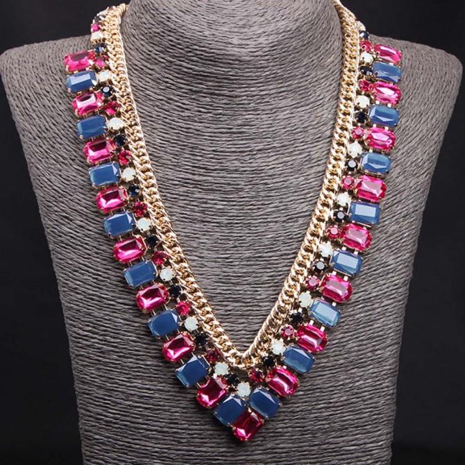 Blue Pink V Shape Necklace