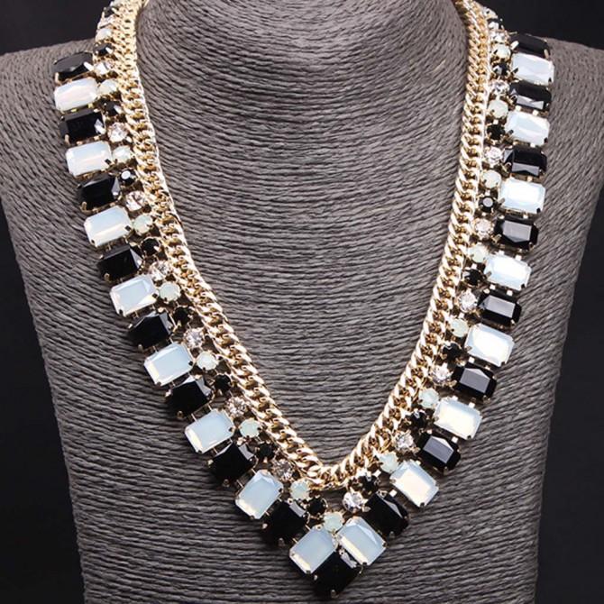Black White V Shape Necklace