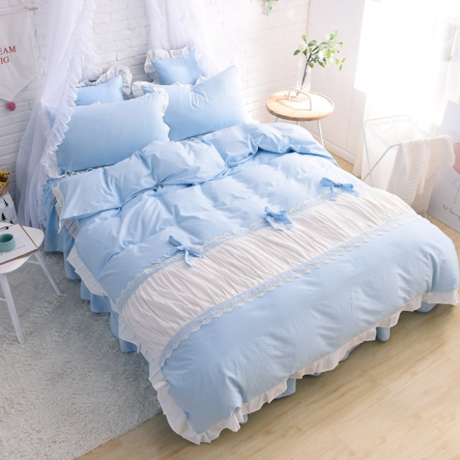 Princess Ruched Duvet Cover Set-Blue