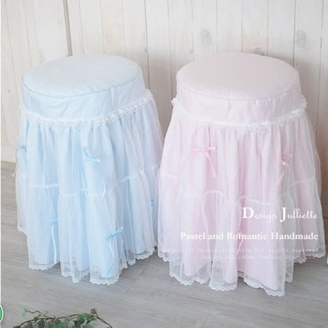Princess Dot Mesh Stool Cover