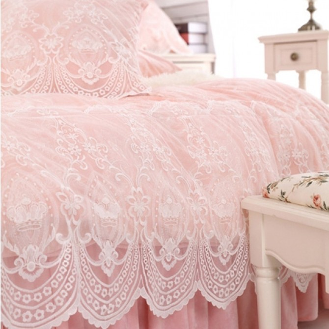 Princess French Lace Duvet Cover Set-Pink