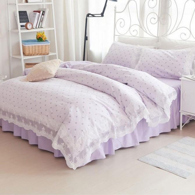 Purple Polka Dots Duvet Cover Set