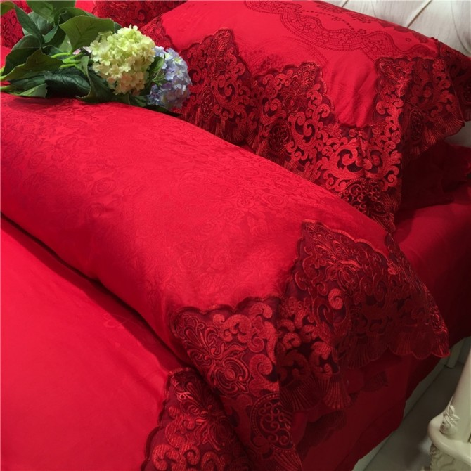 Red Embroidery Lace Luxury Duvet Cover Set