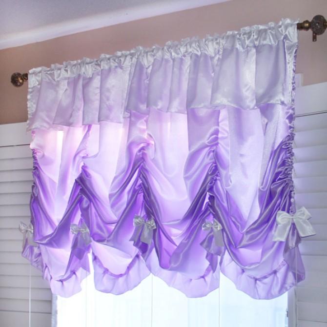 Princess Purple Satin Balloon Curtain Shade