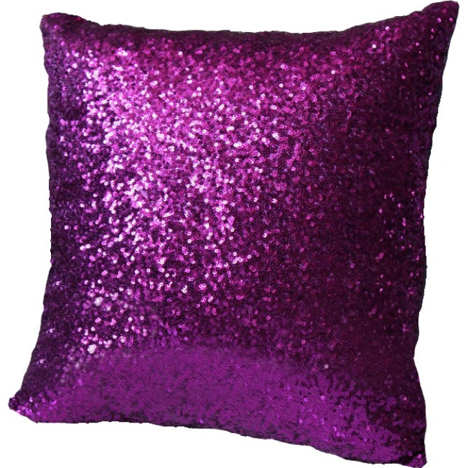 Purple Sequin Cushion Cover