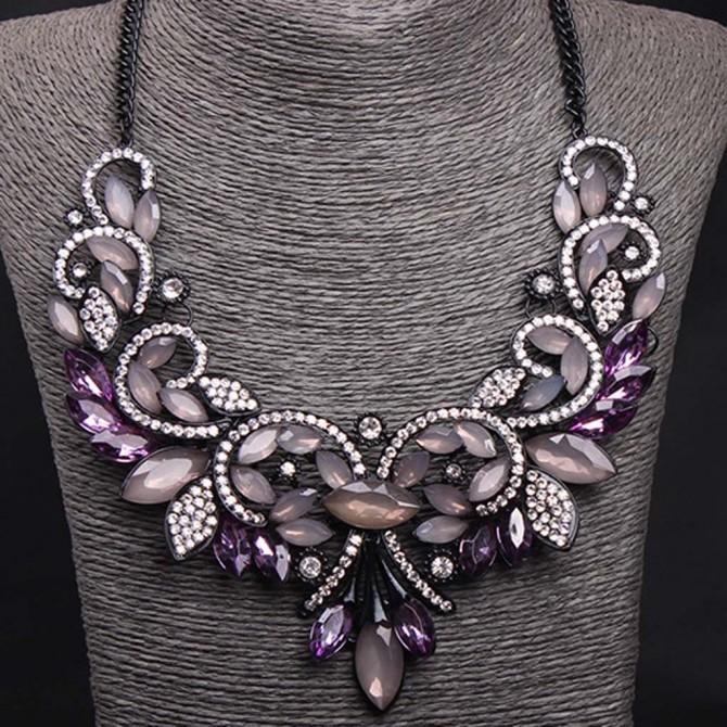 Gothic Bib Purple Necklace