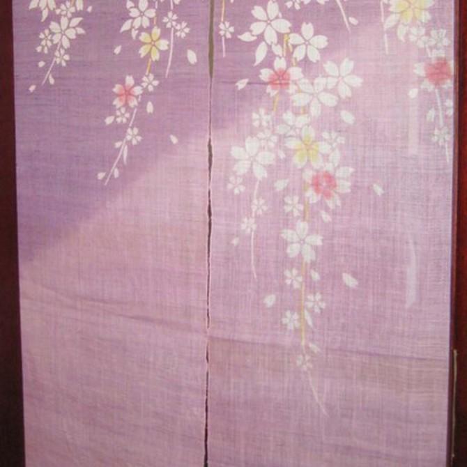 Cherry Blossom Purple Door Curtain
