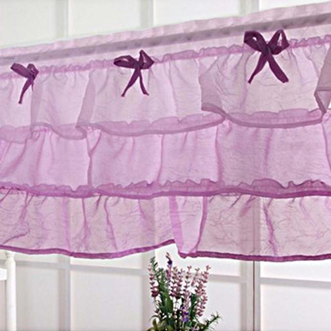 Purple Ruffle Valance Kitchen Curtain