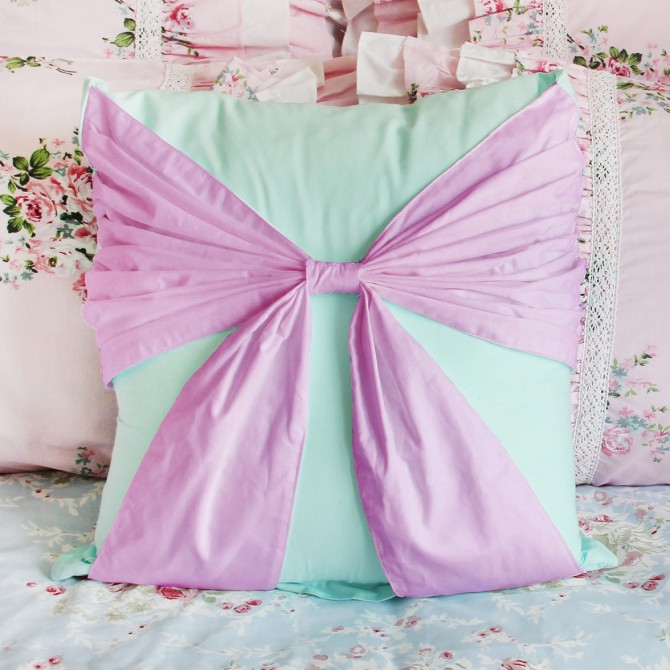Bow Accent Cushion Cover-Purple Turquoise