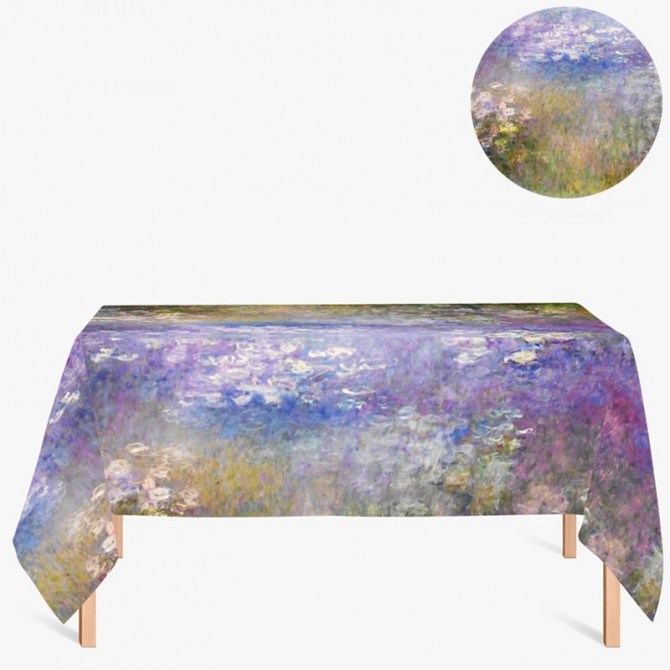 Claude Monet Purple Water Lilies Tablecloth