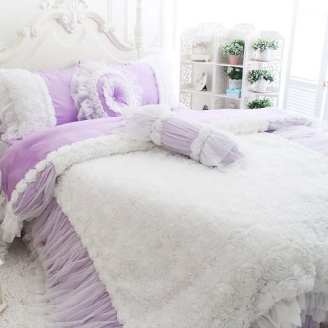 Rose Ruffle Duvet Cover Set, Light Purple