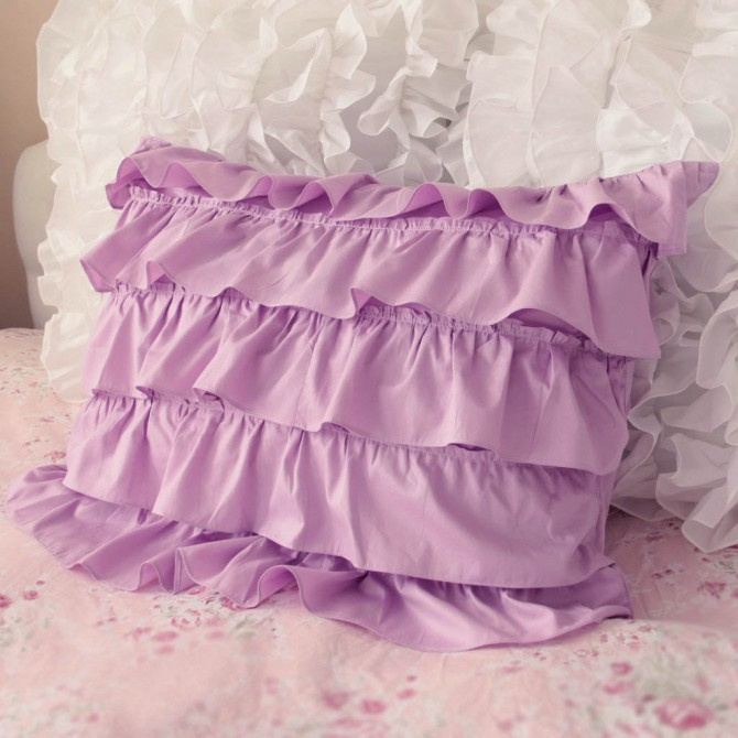 Purple Waterfall Ruffle Sham-Set of 2