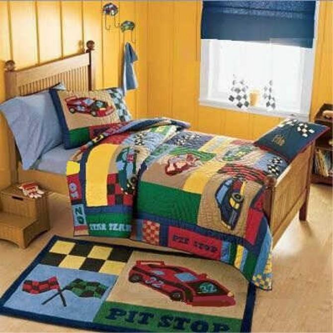 Pit Stop Race Car Quilt Bedding Set