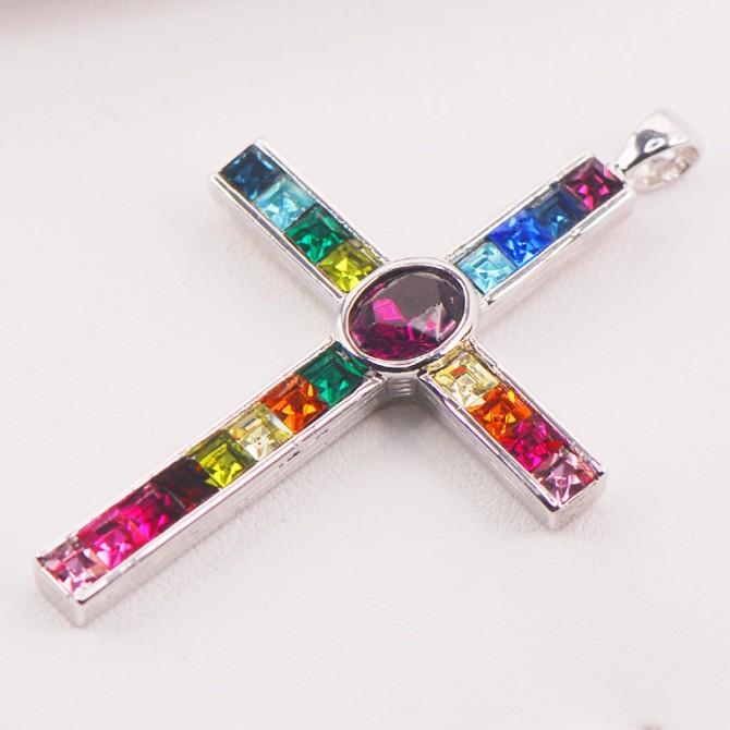 Rainbow Topaz Cross Pendant