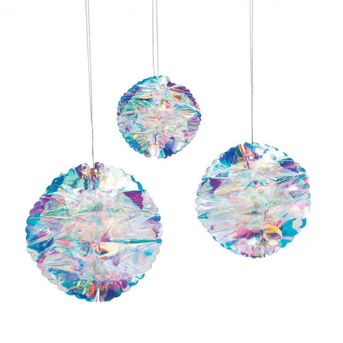 Iridescent Honeycomb Pom Pom Hanging Decoration