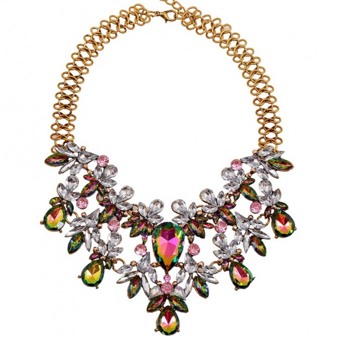 Sparkle Iridescent Vitrail crystals Statement  Necklace