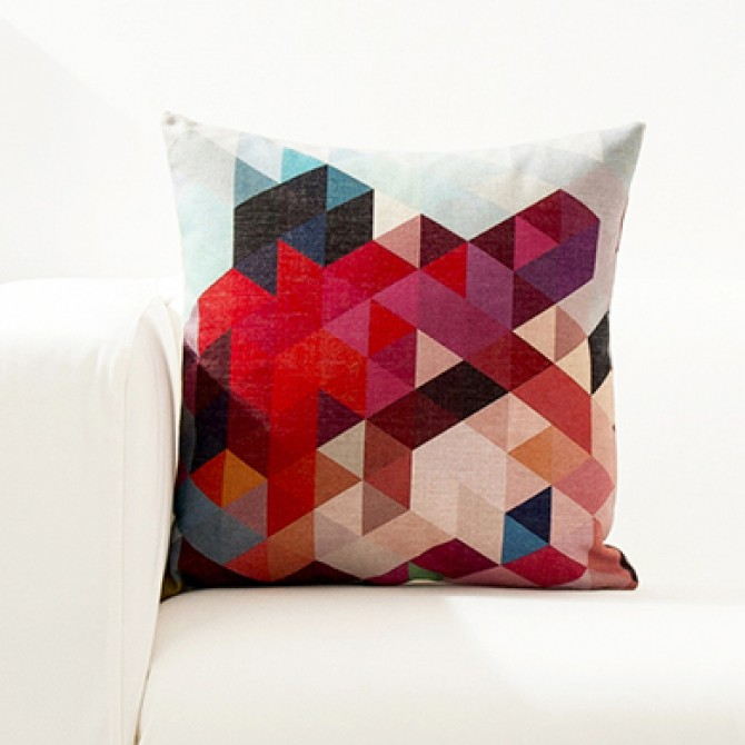 Bright Color Geometry Cushion Cover K