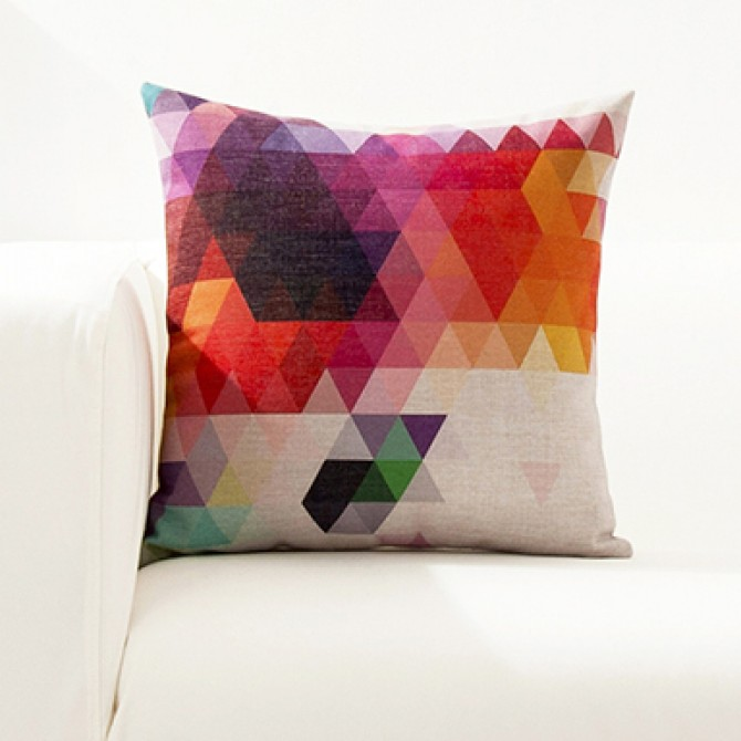 Bright Color Geometry Cushion Cover B