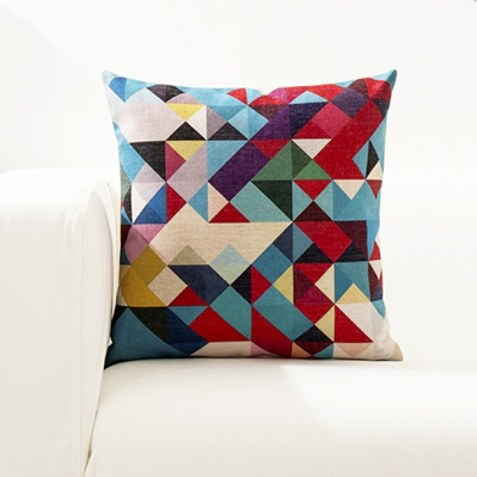 Bright Color Geometry Cushion Cover D