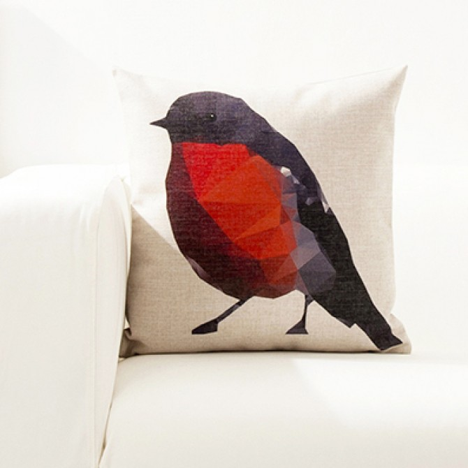 Bright Color Geometry Bird Cushion Cover A