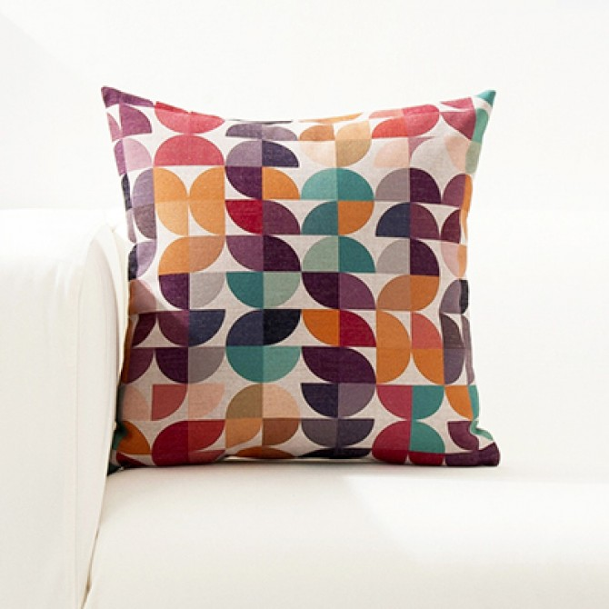 Bright Color Geometry Cushion Cover C