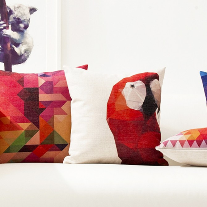 Bright Color Parrot Geometry Cushion Cover F