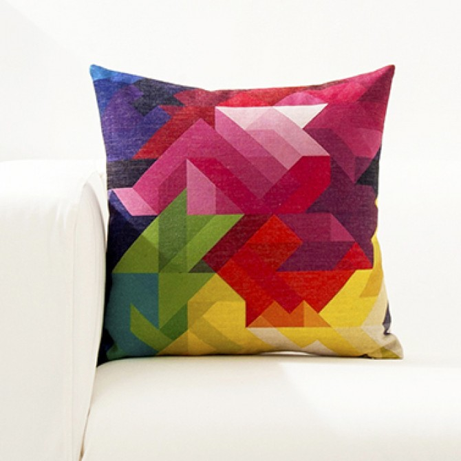 Bright Color Geometry Cushion Cover L