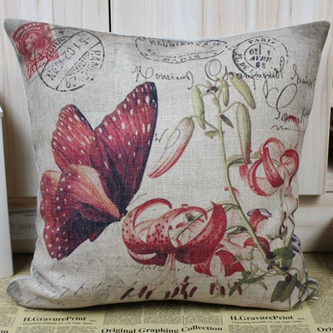 Butterfly Lily Garden Cushion Cover