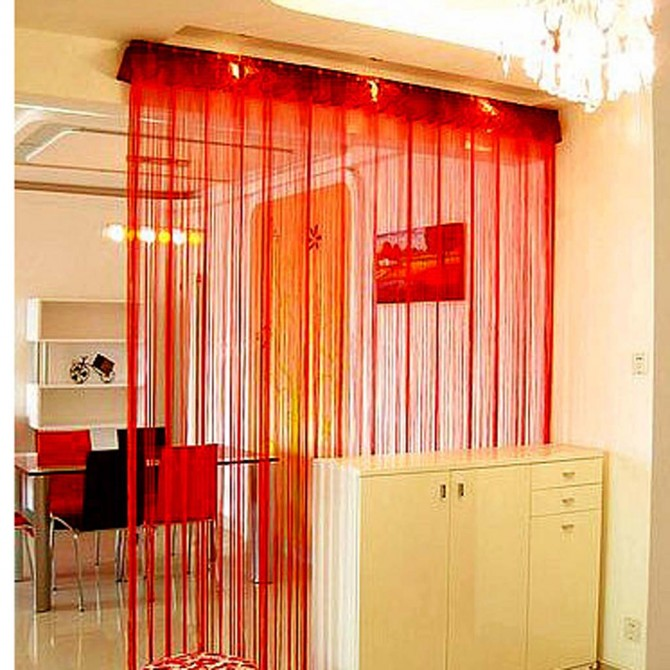 Red String Curtain Panel