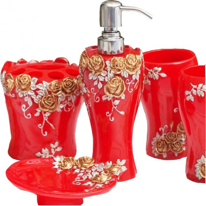 Red Rose Bathroom Set 5pcs