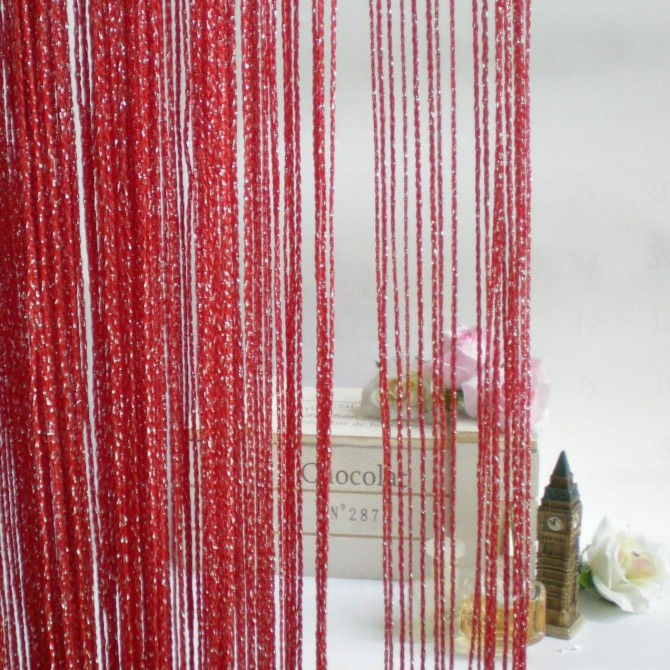 Luxury Red Silver String Curtain