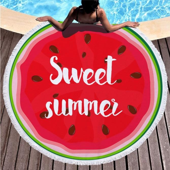 Red Sweet Summer Round Towel Picnic Beach Blanket