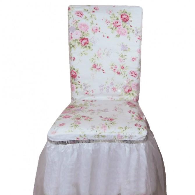 White Romance Rose Ruffle Chair Cover