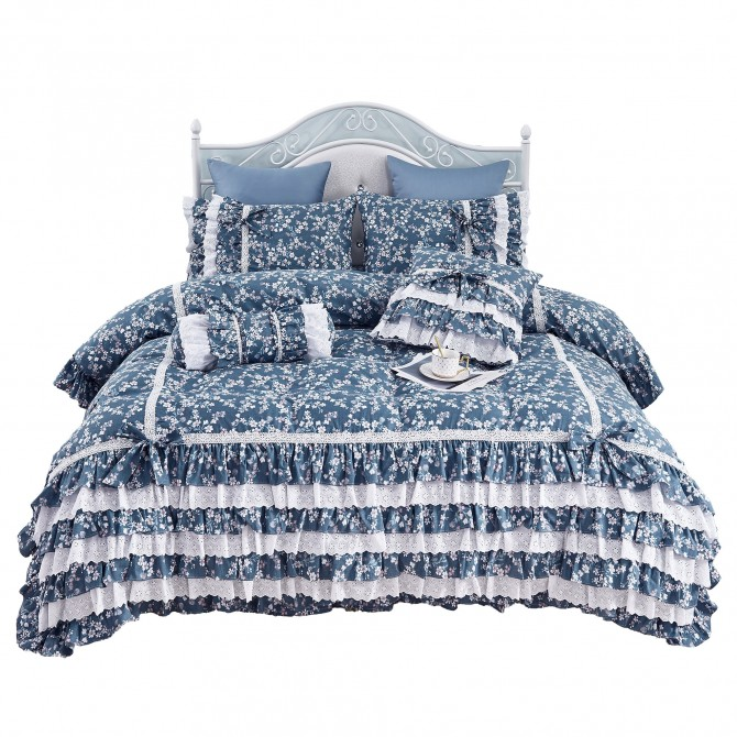 Elegant Blue Ruffle Lace Duvet Cover Set