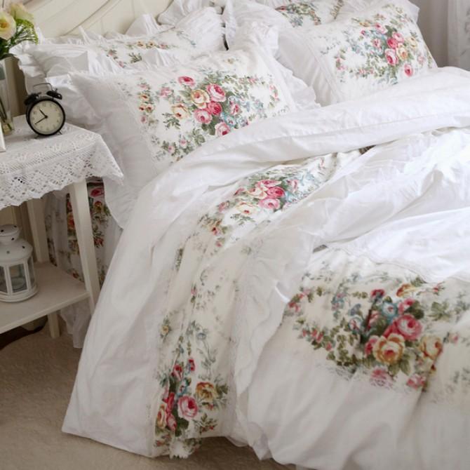 Royal Rose Garden Ruffle Duvet Cover Set