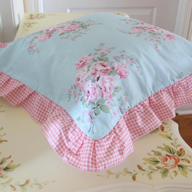 Bella Rose Pink Ruffle Cushion Cover