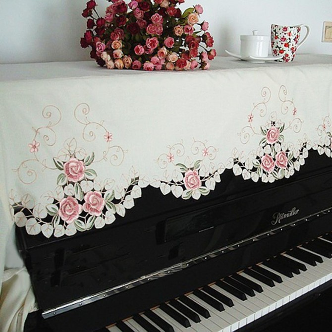 Embroidery Pink Rose Piano Half Cover