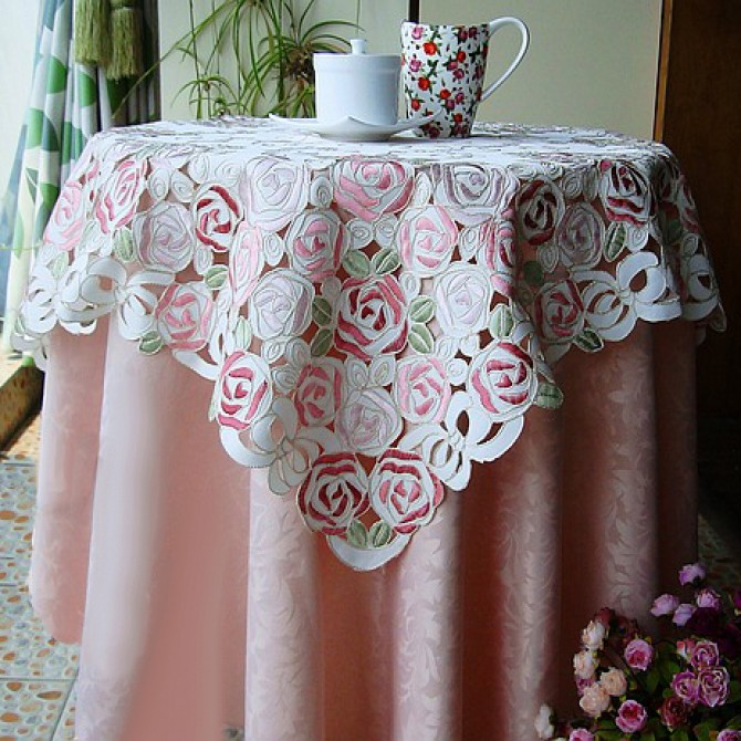 Rose Bush Embroidery Square Tablecloth