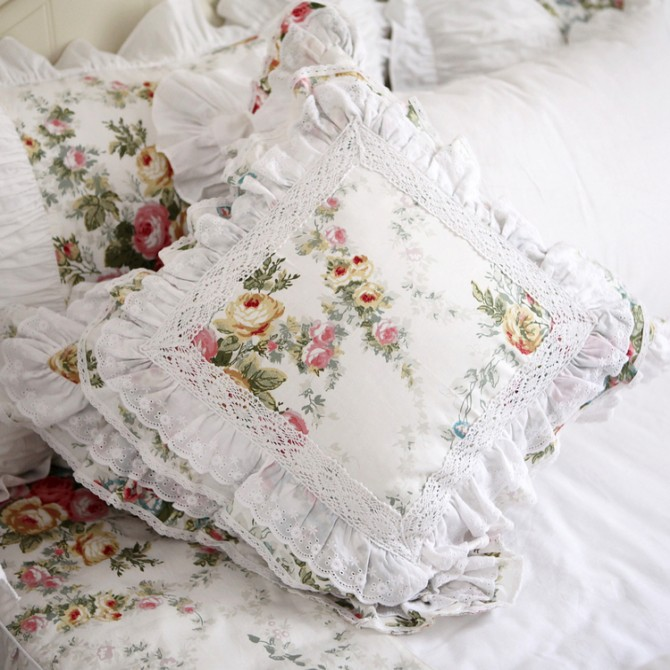 Royal Rose Garden Lace Ruffle Cushion Cover