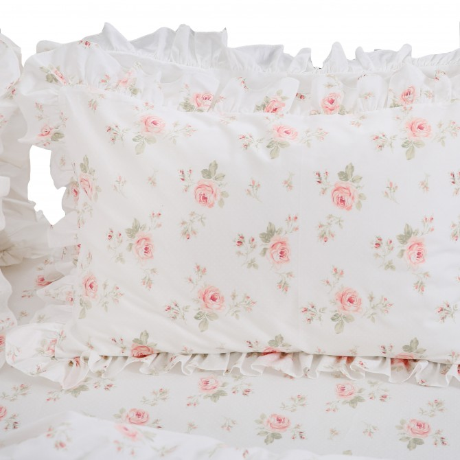 Rose Ruffle Pillow Sham in Cream ( pair)
