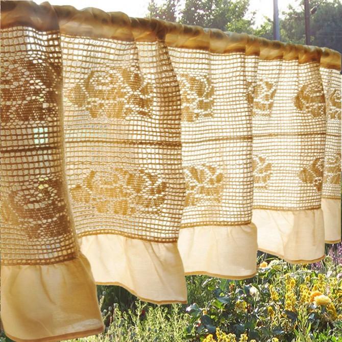Vintage Rose Crochet Ruffle Valance