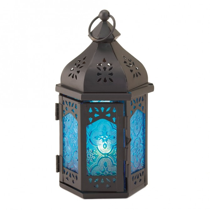 Rosette Blue Candle Lantern