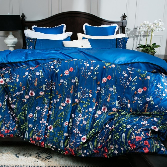 Blue Embroidery Lace Luxury Duvet Cover Set