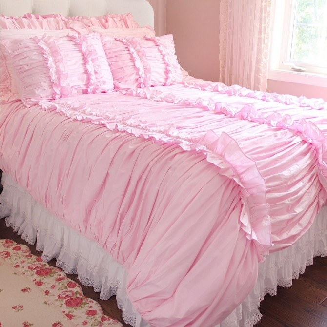 Clara Pink Ruched Duvet Cover Set